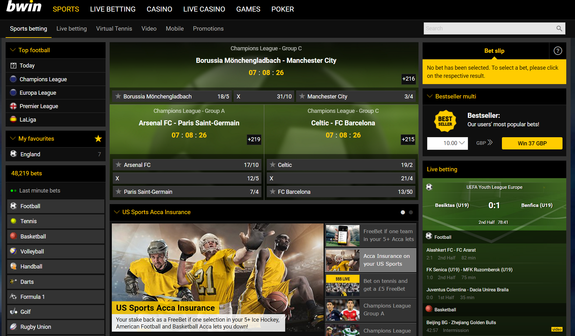 Bwin betting offer