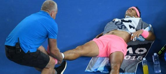 Rafael Nadal is forced to retire after a leg injury at the last Australian Open